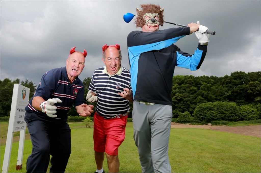 Teeing off with the 'The Beast' Hamptworth Golf and Country Club's 666 yard par 6. Club members Malcolm Cox and Tony Loizou, with Hamptworth owner Carl Faulds teeing off.