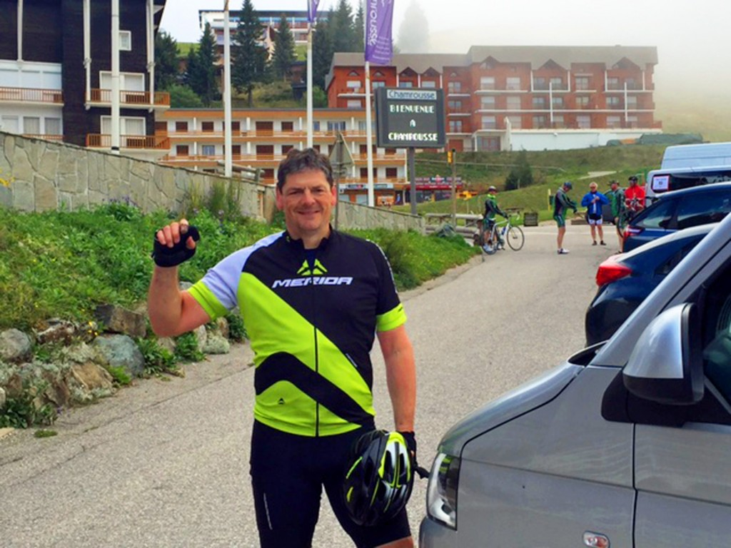 CYCLE STAR: Phil Holford after his Alpe d'Huez challenge
