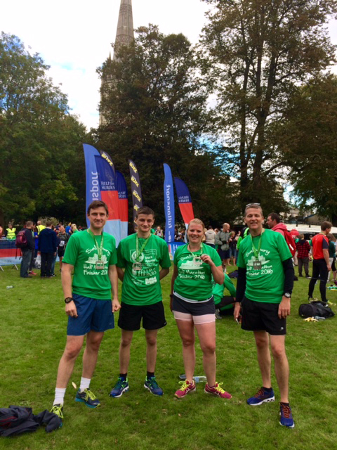 The Myddelton and Major team of runners at the Salisbury Half Marathon finish. From left: Partner Peter Sammon; Commercial Negotiator Murray Waldron; Residential Lettings Administrator Fiona Thatcher and Partner Dean Speer. Accounts Administrator Liz Roberts also took part. Picture by Myddelton & Major.