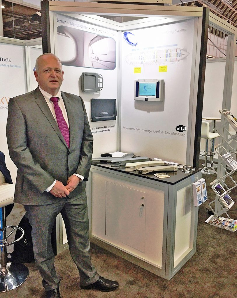 FLYING HIGH: Trevor Lea, joint managing director of FliteTrak at the Hamburg Aircraft Interiors Expo where the firm's cutting-edge ViatorAero technology was launched in April 2017