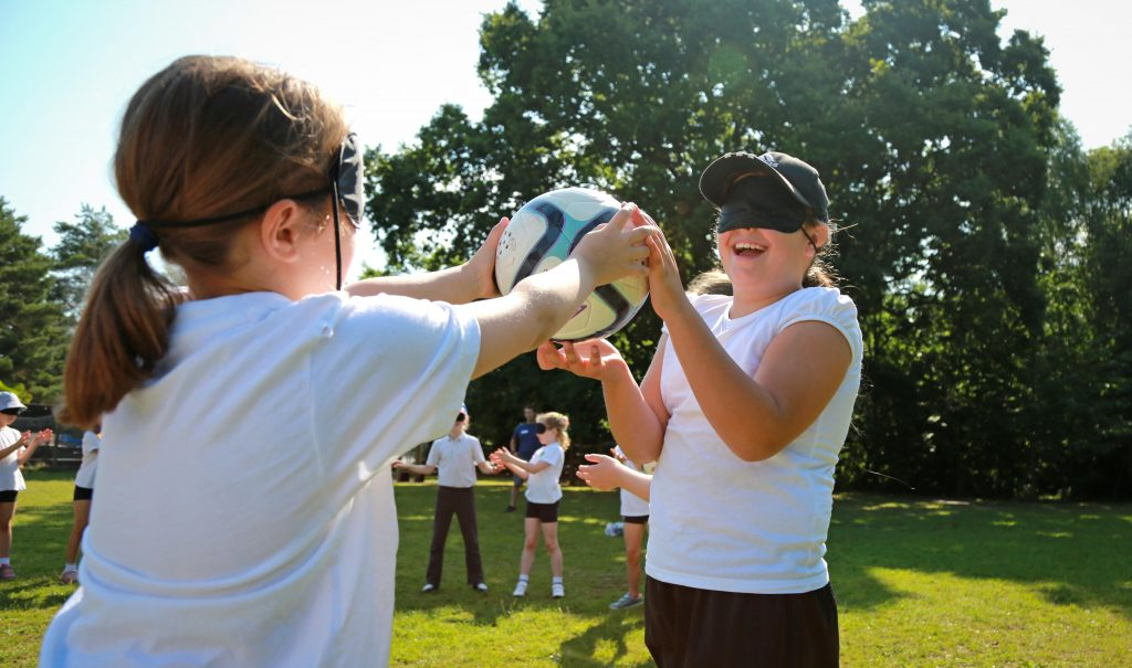 Hayeswood First School were visited by Paralympic blind football stars Keryn Seal and Dan James and pupils were put through their paces in their first taste of the game.