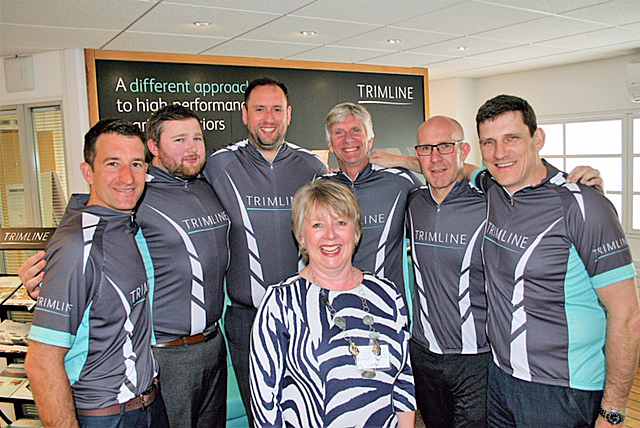 WHEELS UP: Wessex Heartbeat events and community fundraising manager Tina Richardson with the team from sponsor Trimline.