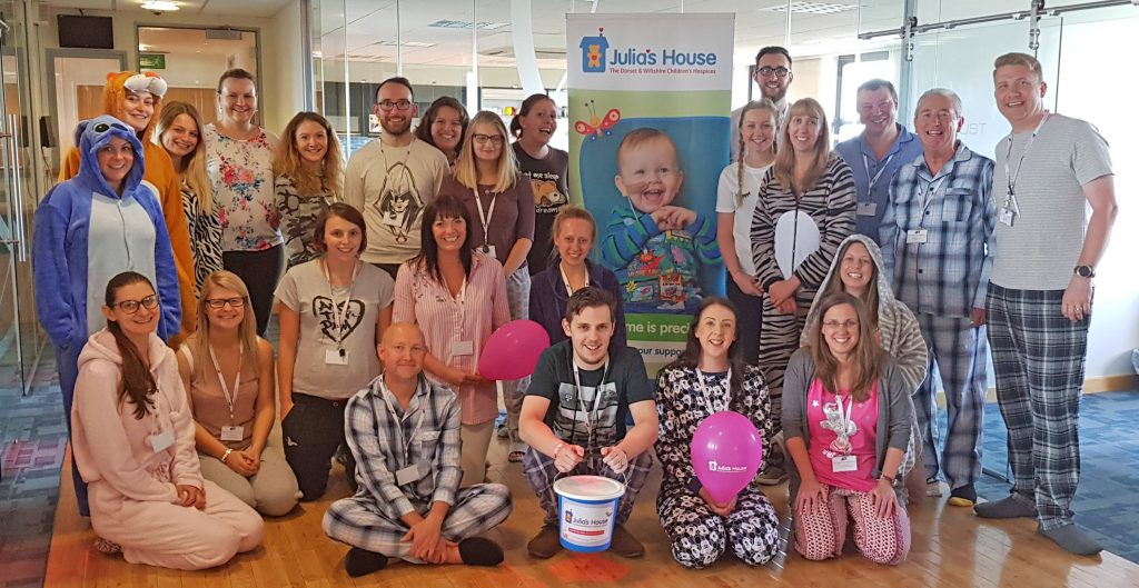 PJ HURRAY: Staff at Britannia Parking raised more than £450 by wearing pyjamas and onesies at the national firm's headquarters at County Gate House, Westbourne, Bournemouth. The money goes to Julia's House, the children's hospice covering Dorset and Wiltshire.