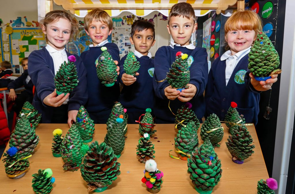 GEE Week at Avonbourne Trust. Avonwood Primary School year 2 and their pine cones.
