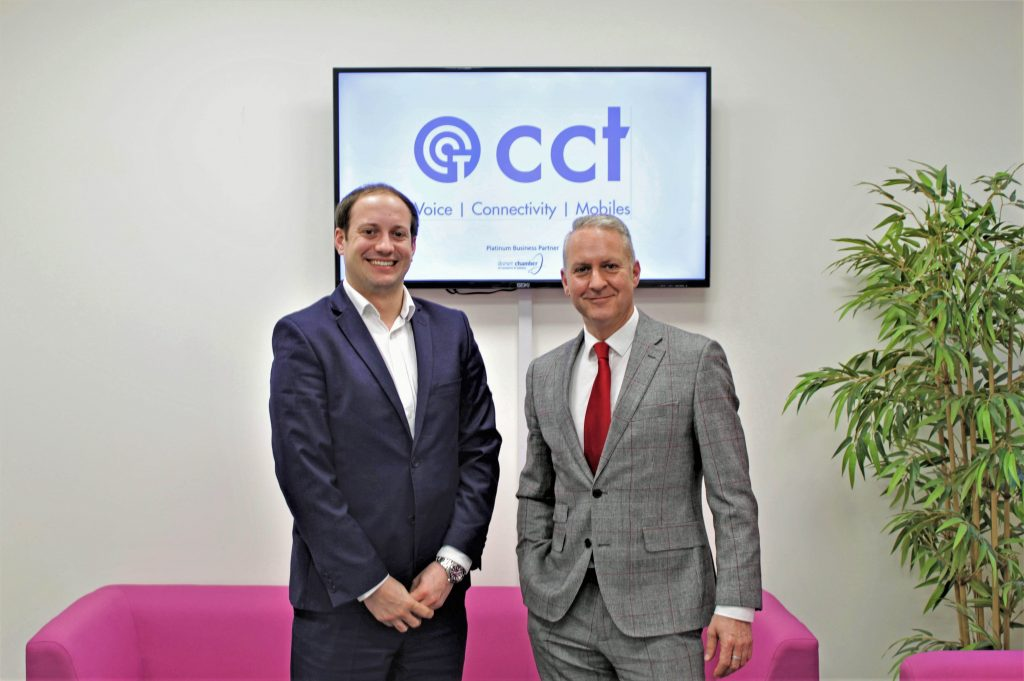 CRYSTAL: Crystal Clear managing director Scott Gower-Smith, left, with Dorset Chamber chief executive Ian Girling.
