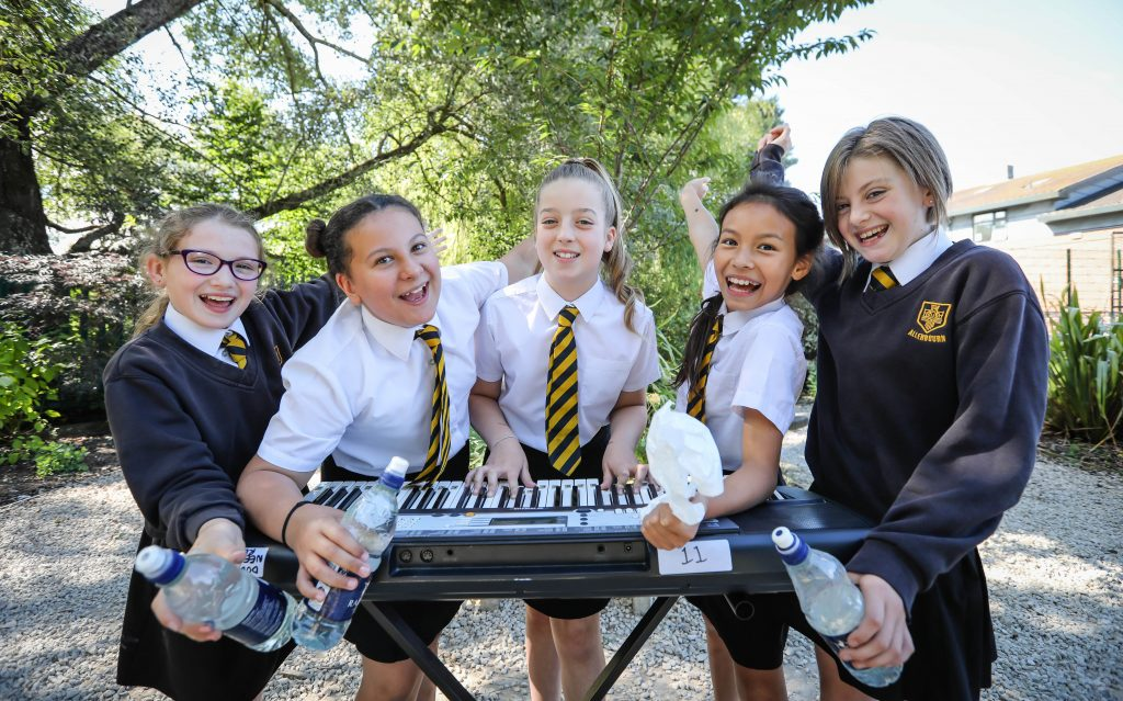 Allenbourn Middle School pupils composed and recorded a song about plastic pollution. Pictured are Lydia Norrish, Nina Hicks, Lauren Duff, Sapphire Taylor and Lacey Smith.