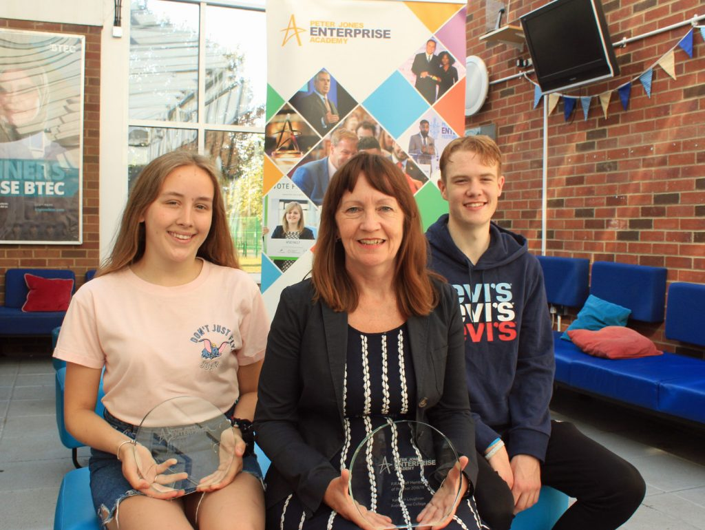 Avonbourne Trust scooped awards in the Peter Jones Enterprise Academy awards. Lydia Hardy won student of the year (left), director of sixth form Kathryn Loughnan won staff member of the year and Joshua Binns was finalist in the Inspiration category.