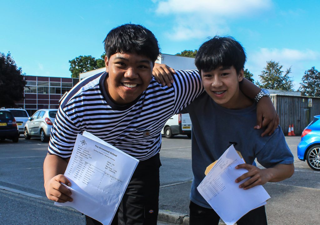 Students from the Arnewood School celebrate their excellent GCSE results. Kit Narito (left) scored one grade 9 four grade 8s and Ben Pang (right) scored four grade 9s. Both passed 9 GCSEs.