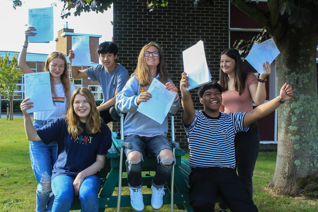 Students from the Arnewood School celebrate their excellent GCSE results. From left to right: Matilda Gleave, Anya Miller, Ben Pang, Hannah Gorry, Kit Narito and Ruby Watts.