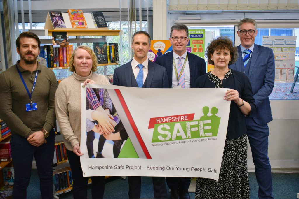 Joining forces to keep young people safe - six Andover schools and colleges join the Hampshire Safe partnership. Pictured from left to right: Ben Stokes, assistant principal at Andover College; Amanda Edney, headteacher of Smannell Fields School; Russell Stevens, headteacher at John Hanson Community School; Michael Serridge, headteacher at Harrow Way Community School; Louisa Hiscock, headteacher at Test Valley School; and Nathan Thomas, headteacher of Winton Community Academy.