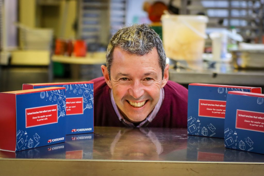 Former marine biologist Declan O'Toole has invested his love of the environment into producing green school meals at his Bournemouth-based Forerunner Catering company.
