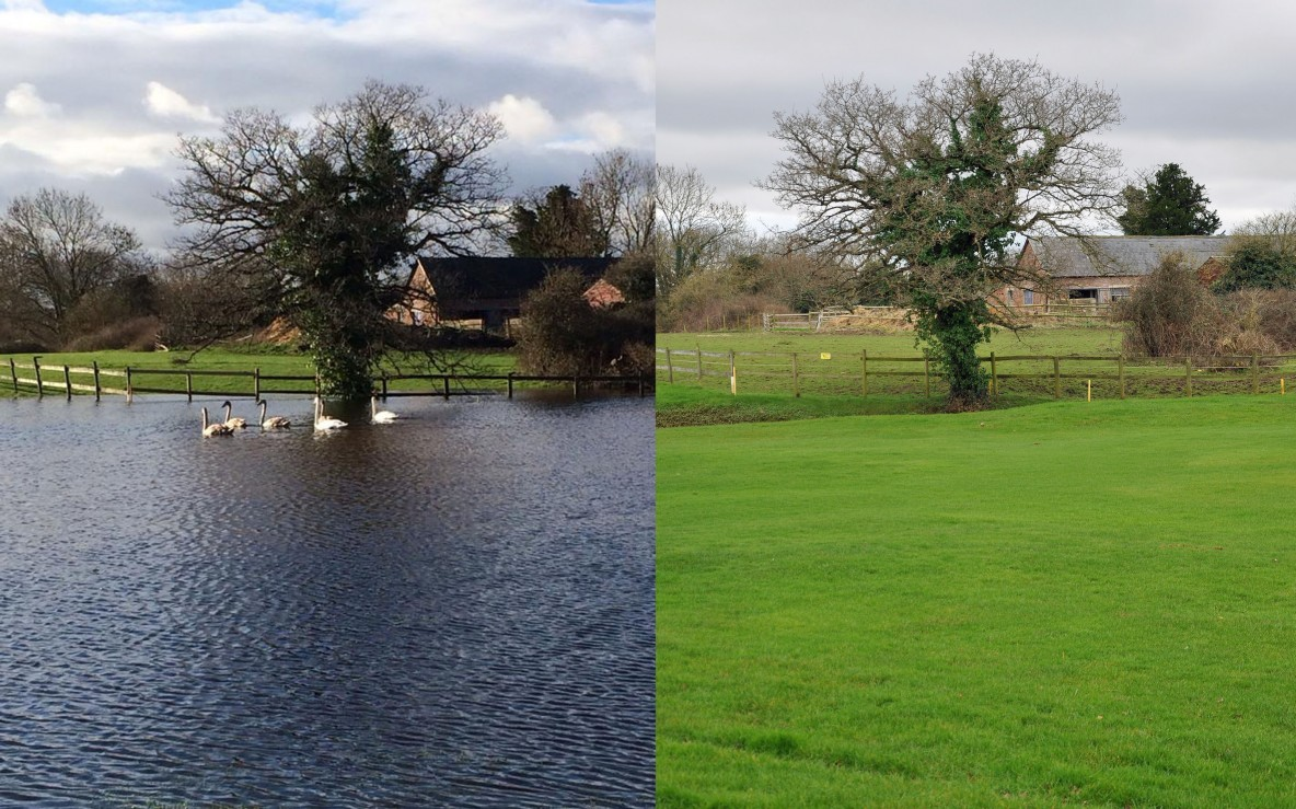 Parley Golf centre in 2014 after heavy rain and in 2016 after heavy rain.