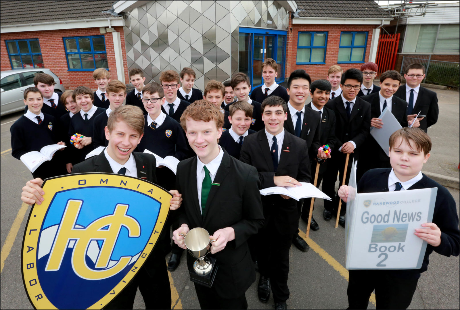 Pupils from Harewood College celebrate victory in a national maths challenge competition.
