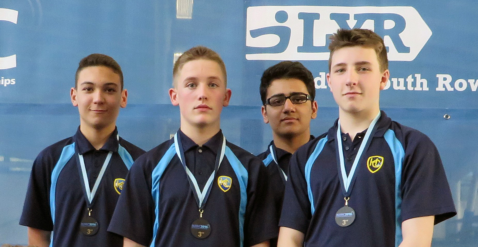 The Harewood indoor rowers who took bronze in the National Junior Indoor Rowing championships. From left to right: Reiss White, Bradley Weller, Mohammad Farooq, Sam Hassell