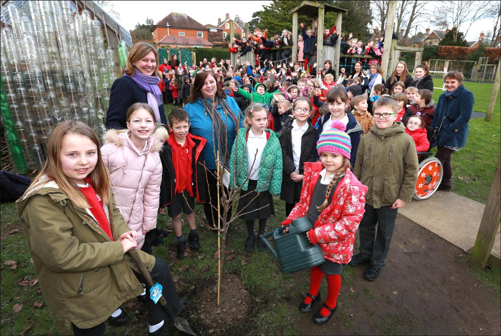 St John's C of E First School's team of eco warriors join their school friends in planting fruit trees in the grounds of the school.