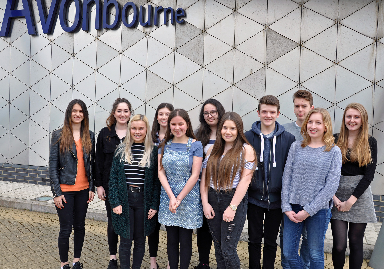 Making the A-grade - some of Avonbourne Trust's 2015 GCSE students who had achieved the prestigious English Baccalaureate qualification. They are all now studying for A-levels at Avonbourne Sixth Form.