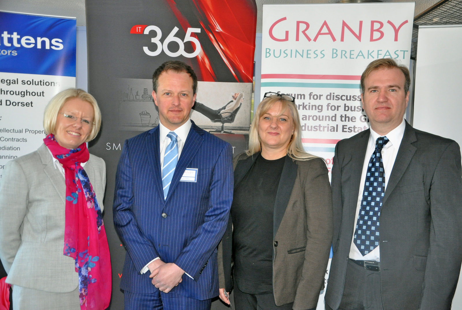 Speakers at the April Granby Business Breakfast organised by Battens Solicitors with Weymouth and Portland Chamber of Commerce. From left, Shelley Poole of Weymouth College, Jon Dobson of Battens Solicitors, Julia Cohen of Weymouth College and James Bull of IT Support 365.