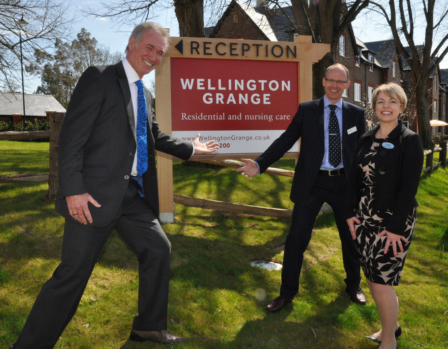 TV's Dr Hilary Jones (left) at the open day of Colten Care's Wellington Grange with Mark Aitchison, Chief Executive, and Clare Gibson, Home Manager.