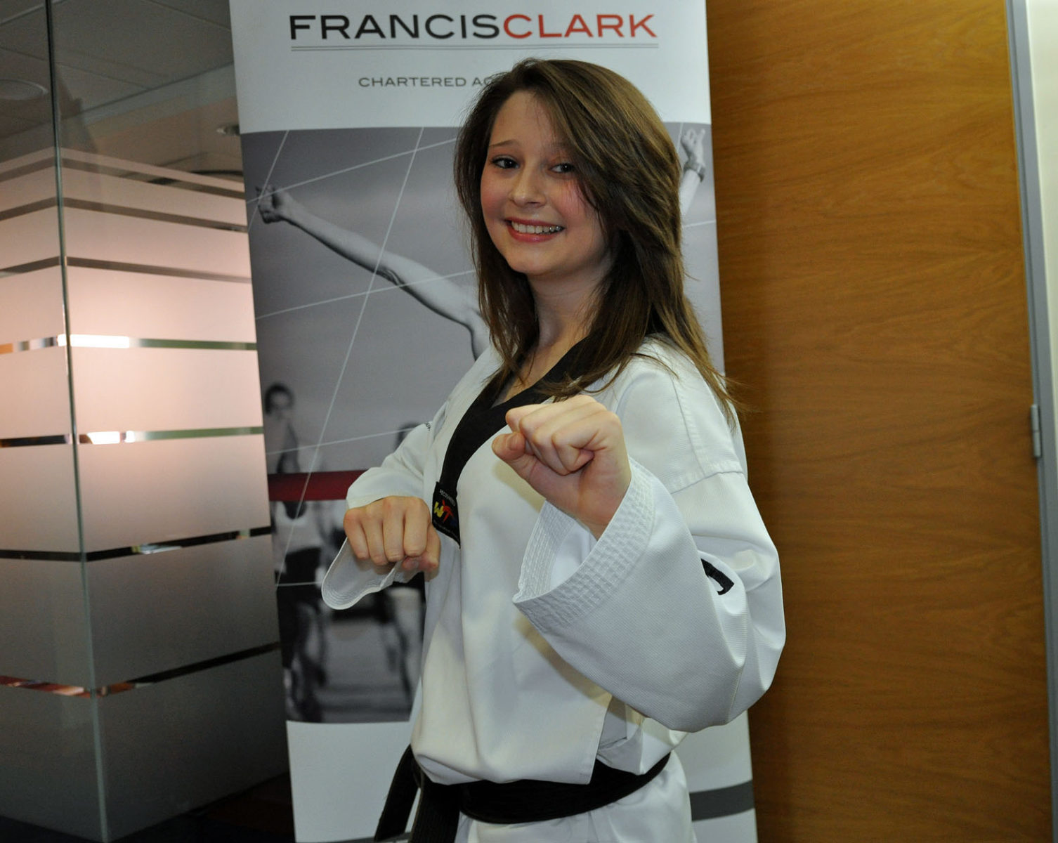 Getting a kick: Fiona Wright, a tax assistant with PKF Francis Clark, who has qualified as a taekwondo instructor.