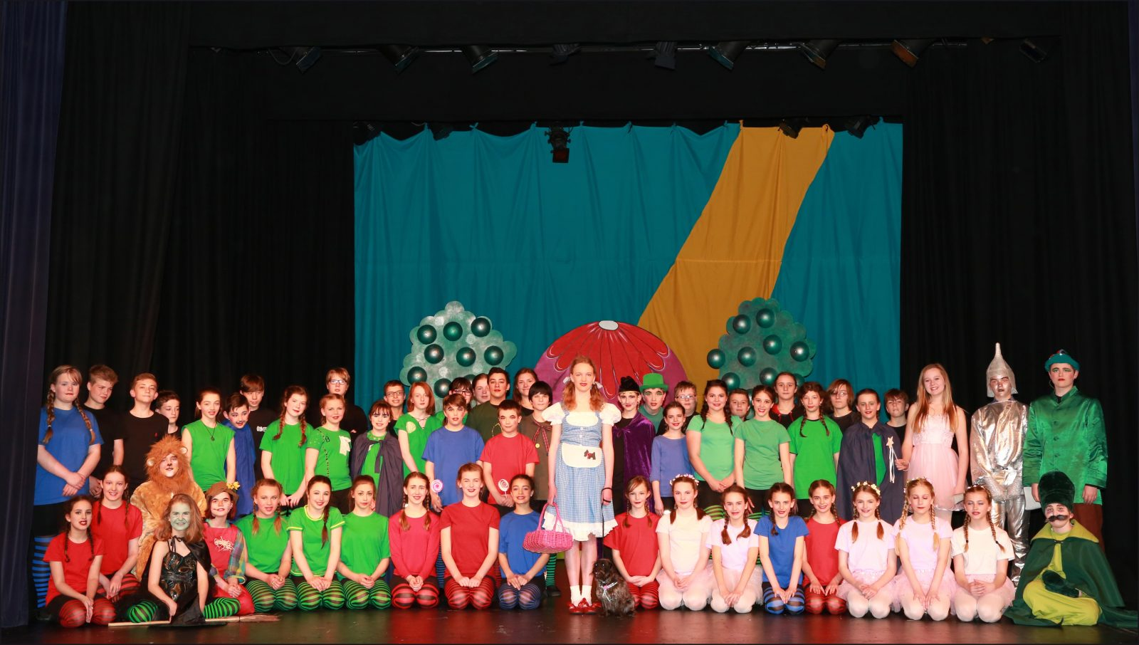 Pupils from St Michael's Middle School performed The Wizard of Oz at Queen Elizabeth School in Wimborne. Felicity Legg played Dorothy pictured with Toto and the cast.
