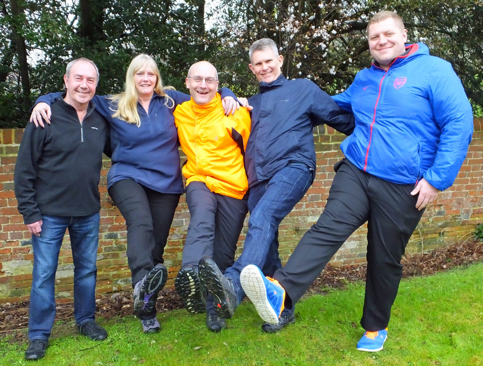 NIGHT HIKE: The Hampshire Chamber of Commerce Plod team, from left, Tony McKenzie, support driver, Eddie Bell, Mark Baulch, Richard Hall and David Kemshall