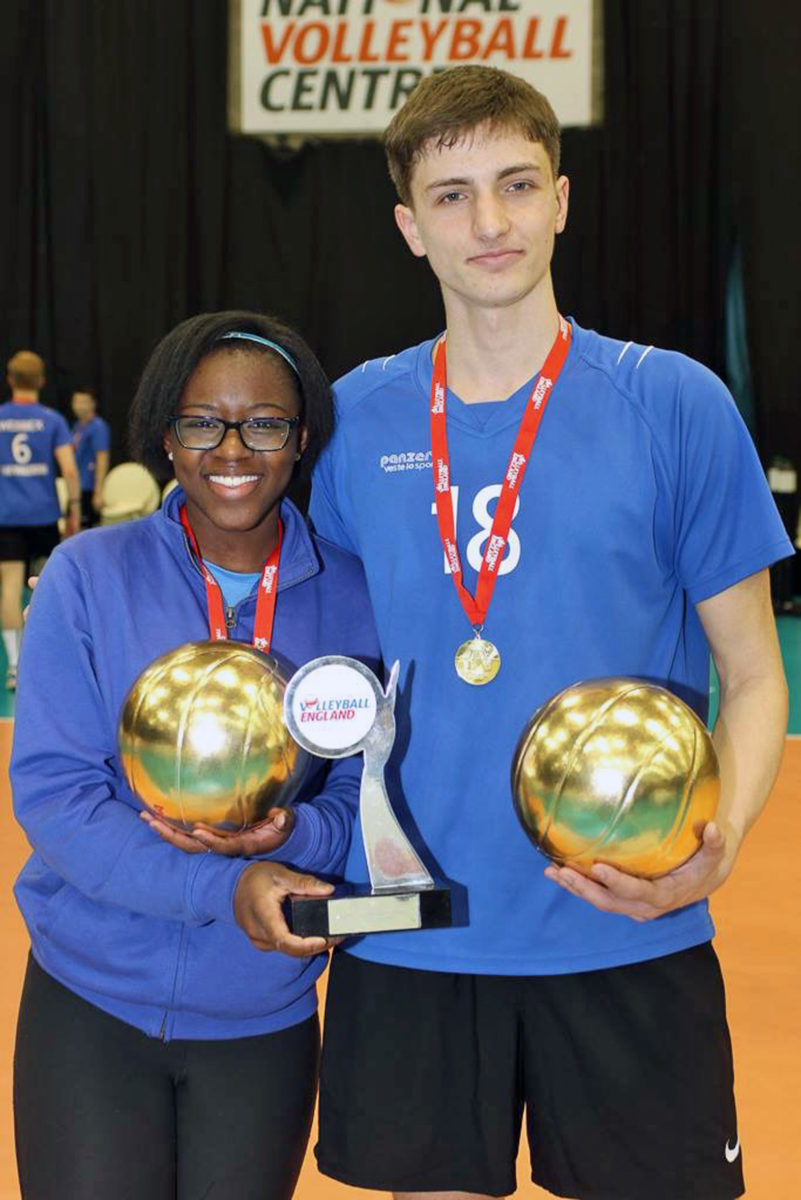 TRIUMPH. Angel Beckford and Angelos Mandilaris- the captains of the female and male Wessex/LeAF U18 teams- who scored a double when their teams won the National Volleyball Cup finals.