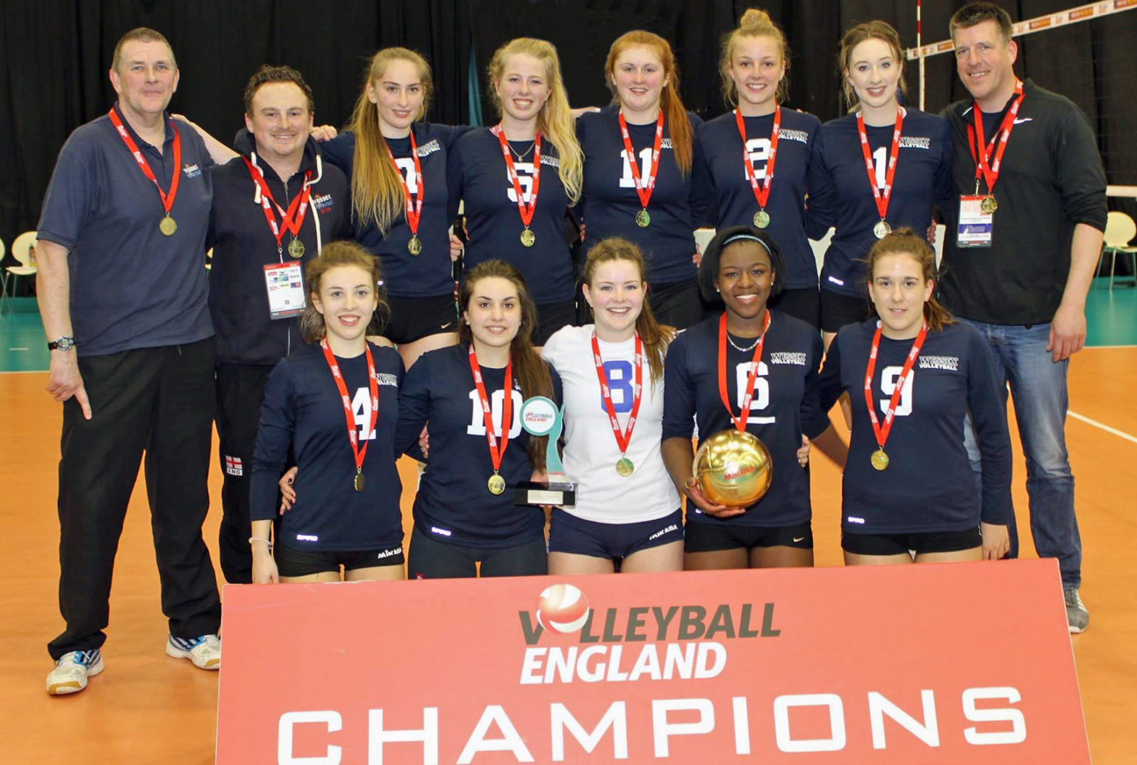 TRIUMPH. The Wessex/LeAF U18 girls' team - who won the National Volleyball Cup finals.