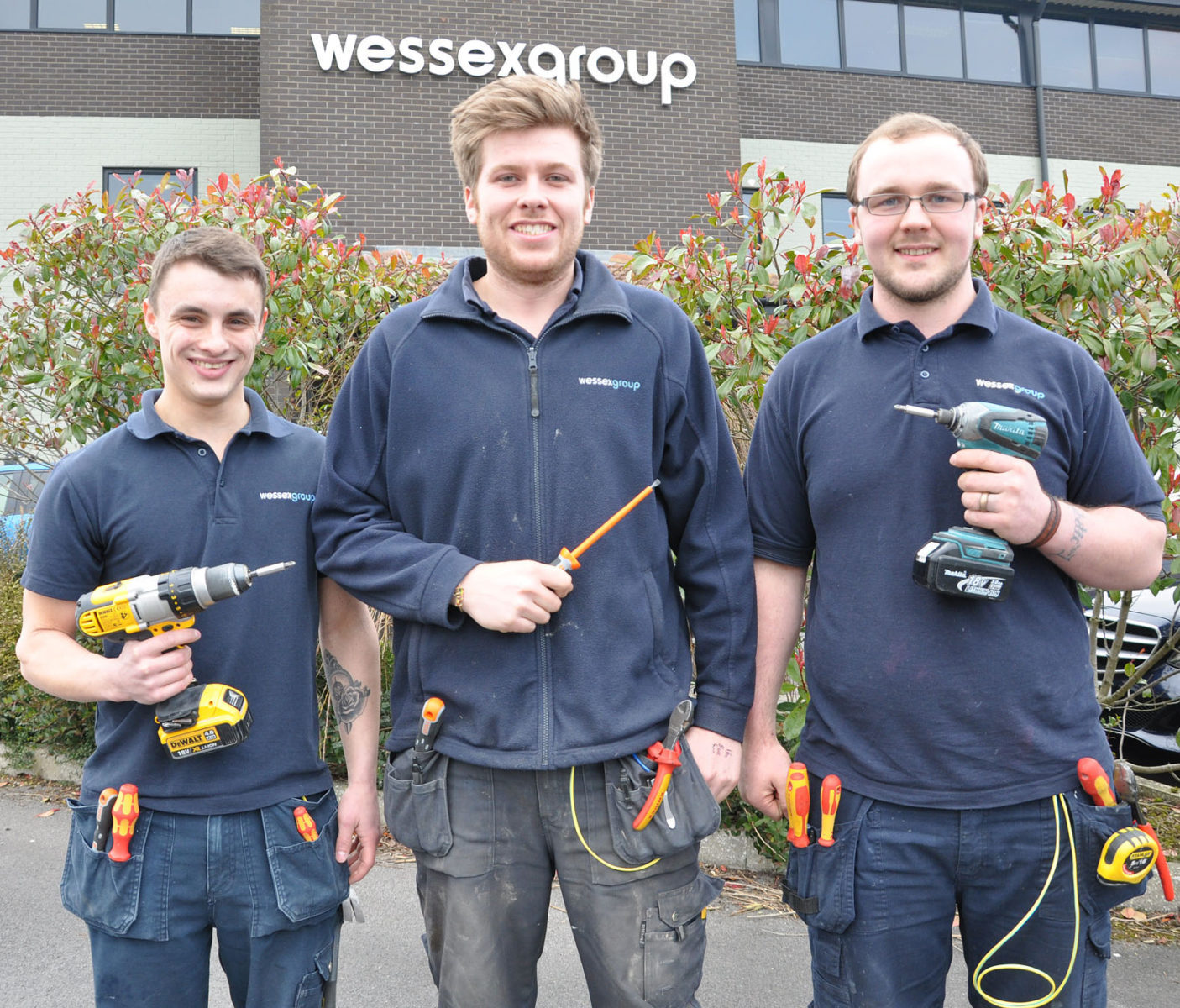 Wessex Group's new qualified electricians: Billy Watson, Ryan Guy and Callum Child.