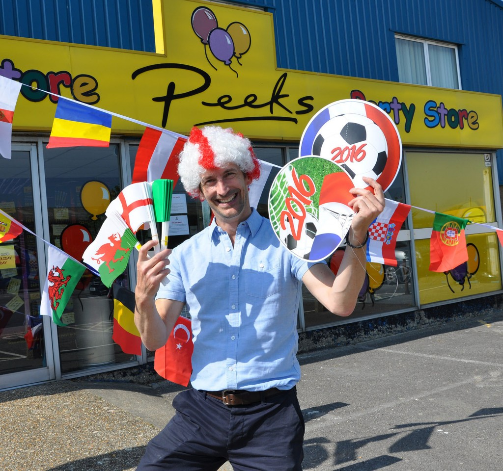 Peeks, the party suppy company in Christchuch, has seen a huge spike in sales ahead of the Euro Championships. Here is MD Nick Peek with some of the items.