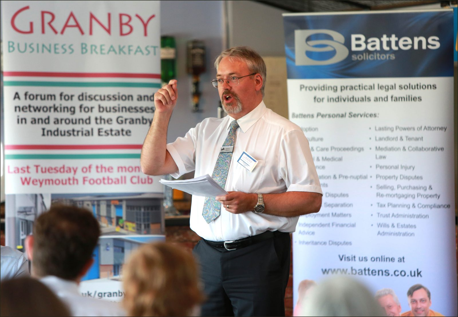 Guest speaker Jeremy Weekes of Lloyds Bank during the Granby Business Breakfast at Weymouth Football Club.
