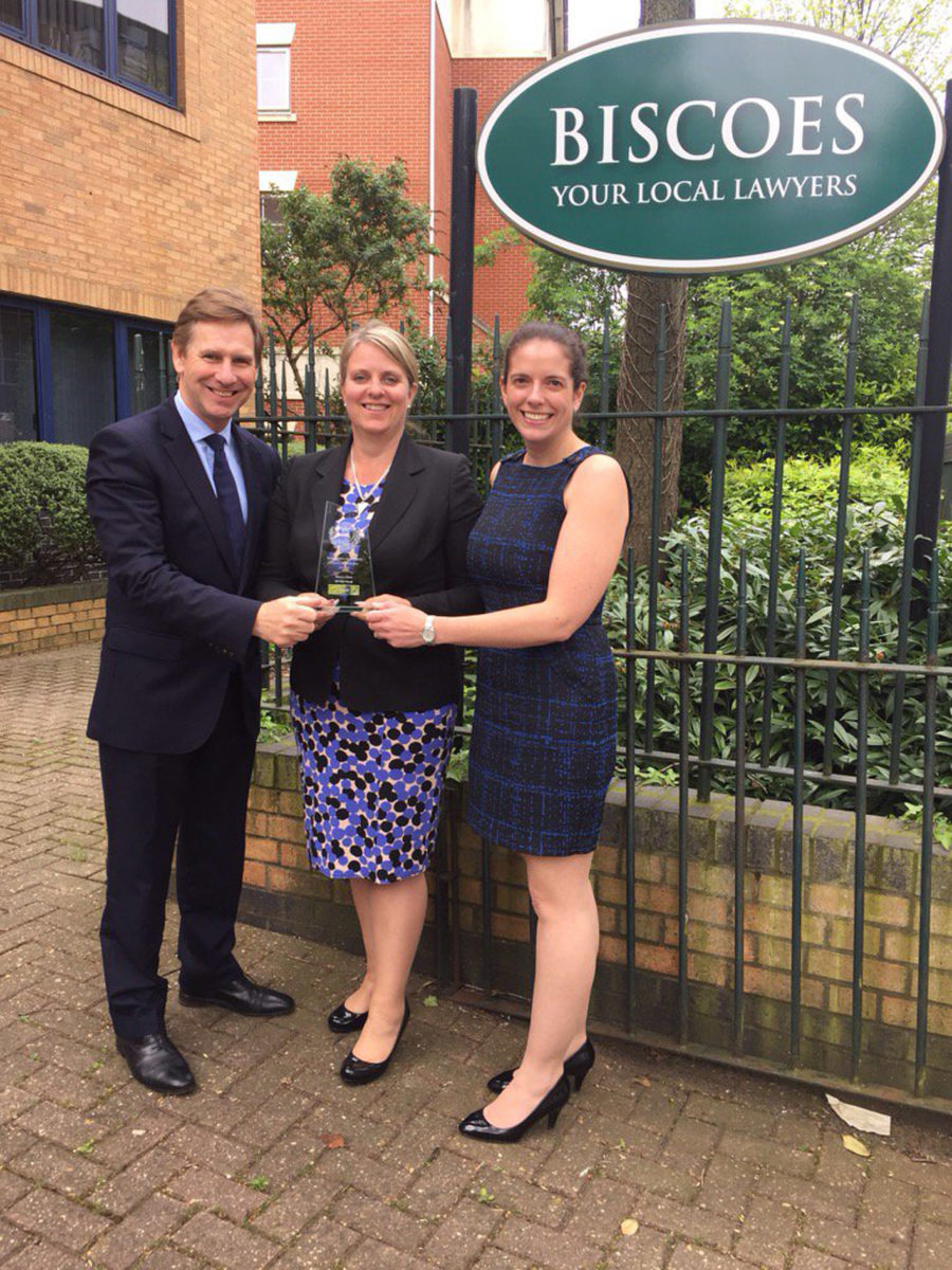 LEGAL TRIUMPH: Biscoes Managing Director Alison Lee, centre, holds the Hampshire Incorporated Law Society award with Head of Commercial Graham Quar and Director Stephanie Bellchambers