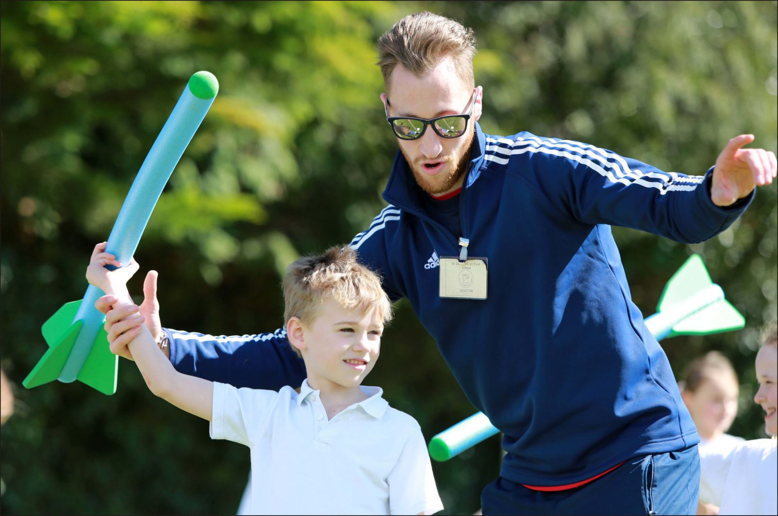 Gareth Hopkins was a guest at St John's C of E First School in Wimborne where he put the pupils through their paces.