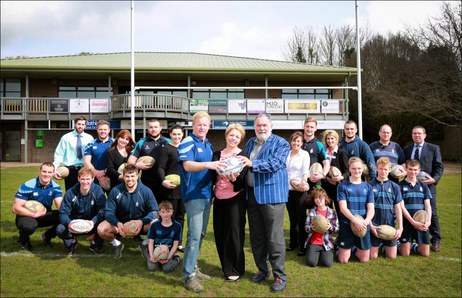 Sponsorship boost: Clare Gibson, Home Manager of Colten Care's Wellington Grange, with (left) Declan Hutchings, CRFC Chairman and Ron Migliorini, Sponsorship Head, together with Wellington Grange staff and CRFC players.