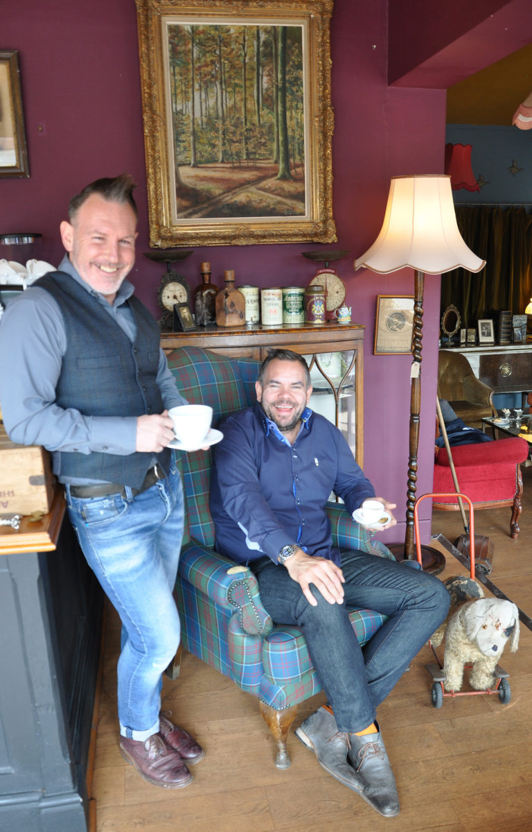 Steve Wells (right) of DWP Housing Partnership and Graham Spridgeon, owner of the Bournemouth Vintage Emporium.