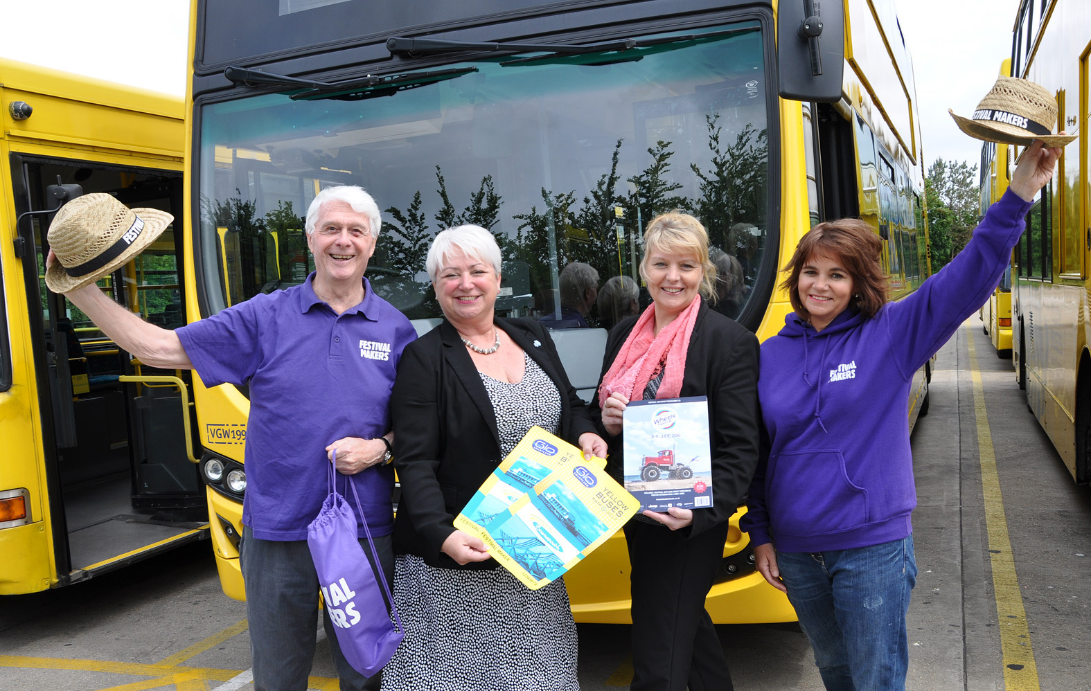 Festival Makers Marion Milne and Richard French in purple, with Yellows' Jenni Wilkinson (left) and Fiona Harwood.