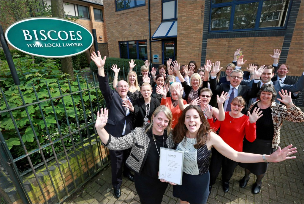 Biscoes solicitors celebrate Lexcel accreditation. Directors Alison Lee and Stephanie Bellchambers are pictured with fellow directors and staff at their Portsmouth head office.