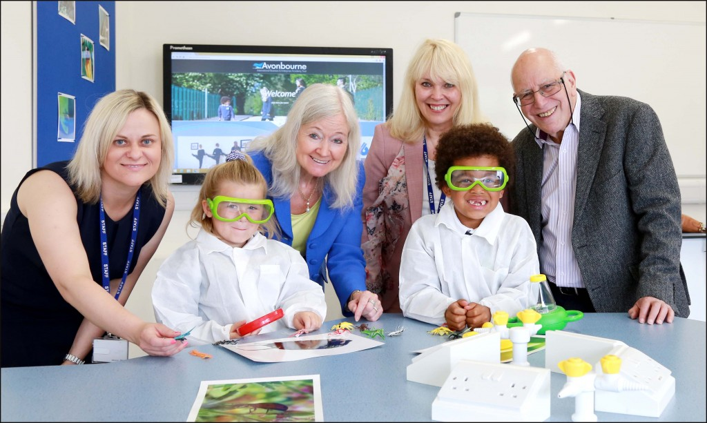 Scientist Dame Kay Davies combined officially opening Avonwood Primary School building in Bournemouth with a visit to their new science classrooms. She is pictured (centre) with pupils, headteacher Annie Dowling, Avonbourne Trust CEO Debbie Godfrey-Phaure and director of Earth Charter in the UK Jeffrey Newman.