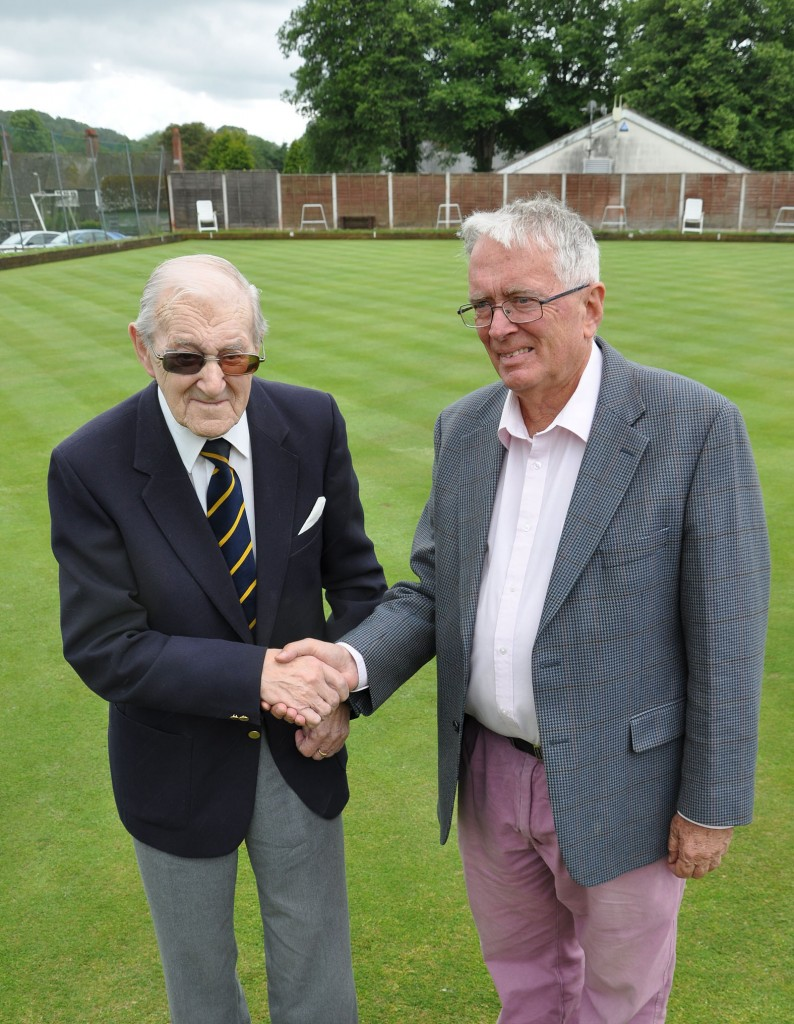 Peter Morgan (President of Cranborne Bowling Club), and Peter Douch of the sponsors Douch & Small.