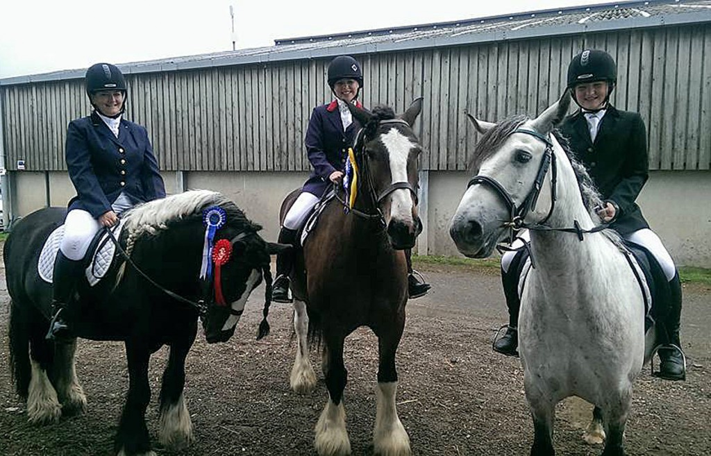 Parley riders in their first dressage competition did well after just three lessons at the centre. Left is Kaite Walters on Robbie who came first, centre is Dawn Baily on Dylan who came thrid and Jessica Locke on Fergal came sixth.