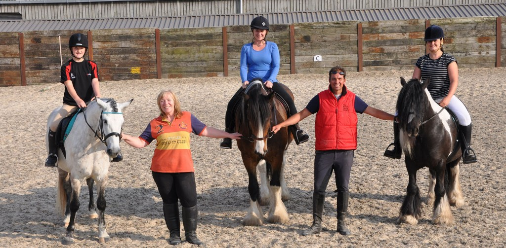 Parley Equestrian Centre has been running 'dressage etiquette' lessons. Pictured here (l-r) Jessica Locke on Fergal, Mel Maclean from the centre, Dawn Bailey on Dylan, instructor Roland Bellido, and Katie Walters on Robbie.