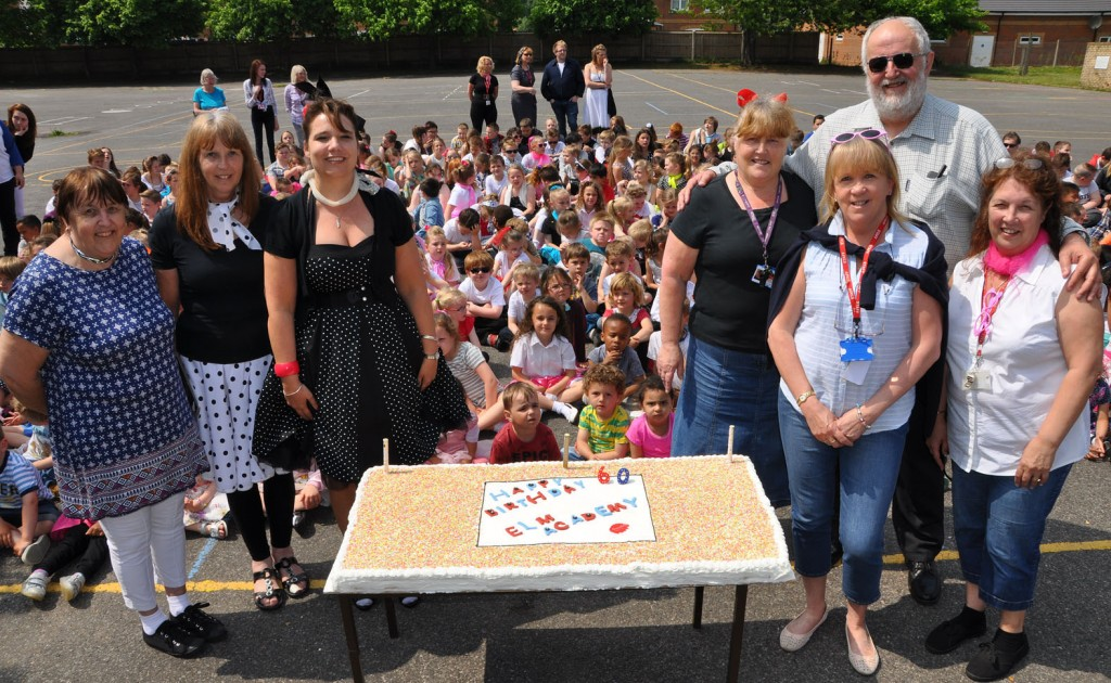 DIAMOND CELEBRATIONS Former students and long standing members of staff join the children of Elm Academy to celebrate the school's 60th (sixty) birthday. From left to right: Former pupil and school cleaner, Marion Dominey; Elm teacher for 30 years, Sylvia Traynor; Acting Principal, Jo Fish; Elm TA for 30 years, Diane Lockwood; former pupil and Elm TA, Sam Boyd; former pupil and Elm TA for 30 years, Elissa Dade. Back row: former pupil David James.