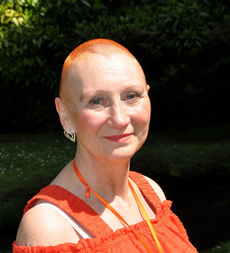 Hairs please! Julie Wood of Yellow Buses who had her head shaved for charity.