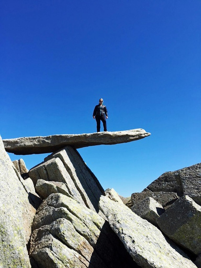 TAKING THE FIRM TO NEW HEIGHTS: Alison Lee, MD of Biscoes, on the Cantilever Stone at Gylder Fach during the LawNet Challenge 2016