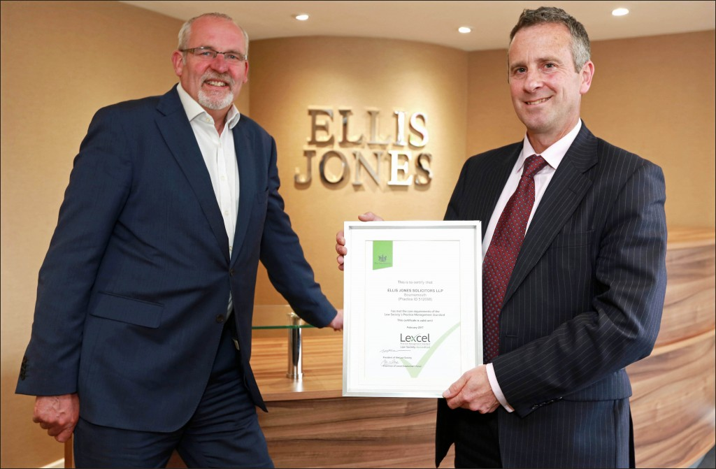Beacon of quality: Nigel Smith, Ellis Jones' Managing Partner (left), and Christopher Gates, Compliance Officer, with the firm's Lexcel certificate.