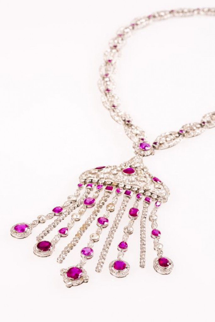 The ruby and diamond necklace being sold at Duke's of Dorchester with an estimate of £60,000.