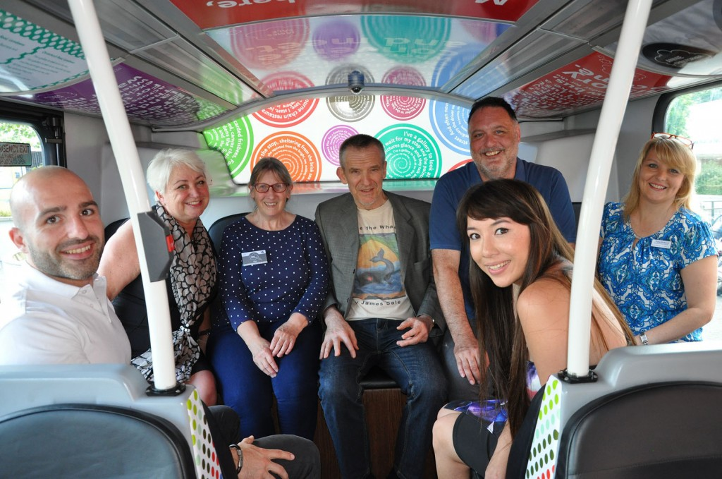 All aboard the Poetry Bus. (l-r) Seb Hall and Jenni Wilkinson from the Yellows, poets Annie Christopher, James Sale, Bob Hill, and Jackie Nicholls and Fiona Harwood of the Yellows.