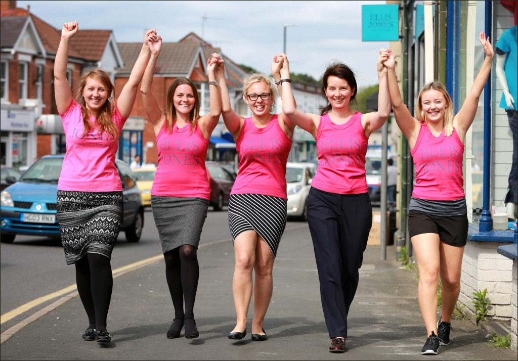 On the run: Kim Housten, Victoria Simpkin, Hannah Roberts, Cariad Medway-Smith and Millie Chittock of Ellis Jones Solicitors look forward to taking part in the forthcoming Cancer Research UK Race for Life and Pretty Muddy.