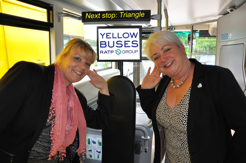 Fiona Harwood (left) and Jenni Wilkinson tune in to Yellow Buses' new audio announcements.