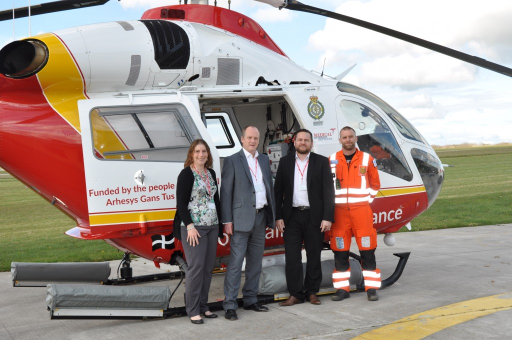 TAKING OFF: Backing the Cornwall Air Ambulance are ITEC Cornwall Account Manager Kathryn Marsh, left, Managing Director Nick Orme and Cornwall Account Director Kevin Roberts with, right, Cornwall Air Ambulance Trust lead paramedic Steve Garvey