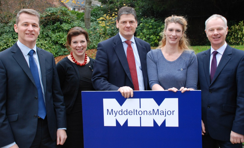 TOP TEAM: Commercial property consultancy Myddelton & Major has been shortlisted for an award in the inaugural South Coast Property Awards. Pictured from left are: Partner Dean Speer; Senior Surveyor Rachael Ward; Partner Philip Holford; Administrator Jody Williams and Partner Simon Lee